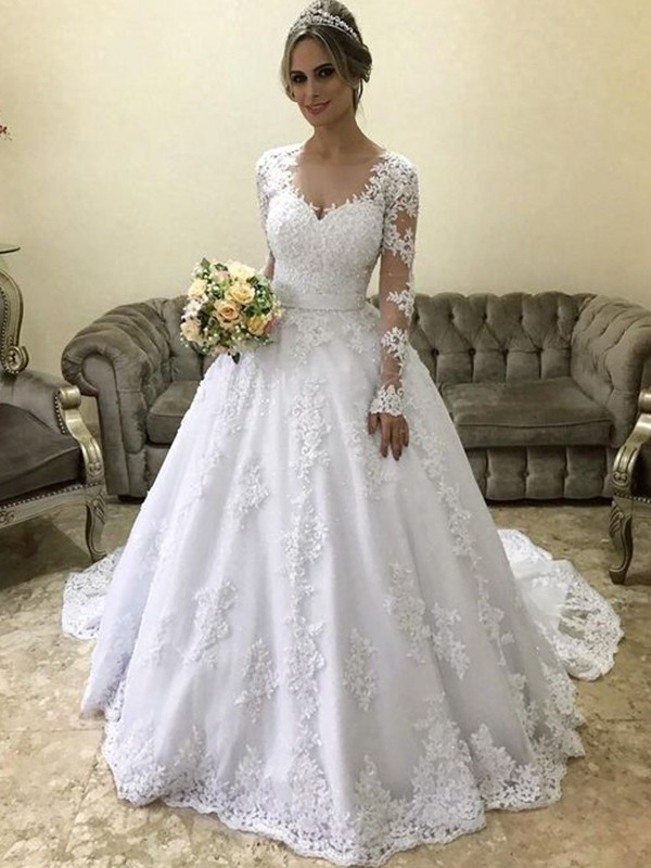 Ball Gown V-neck Long Sleeves Long Satin Wedding Dress