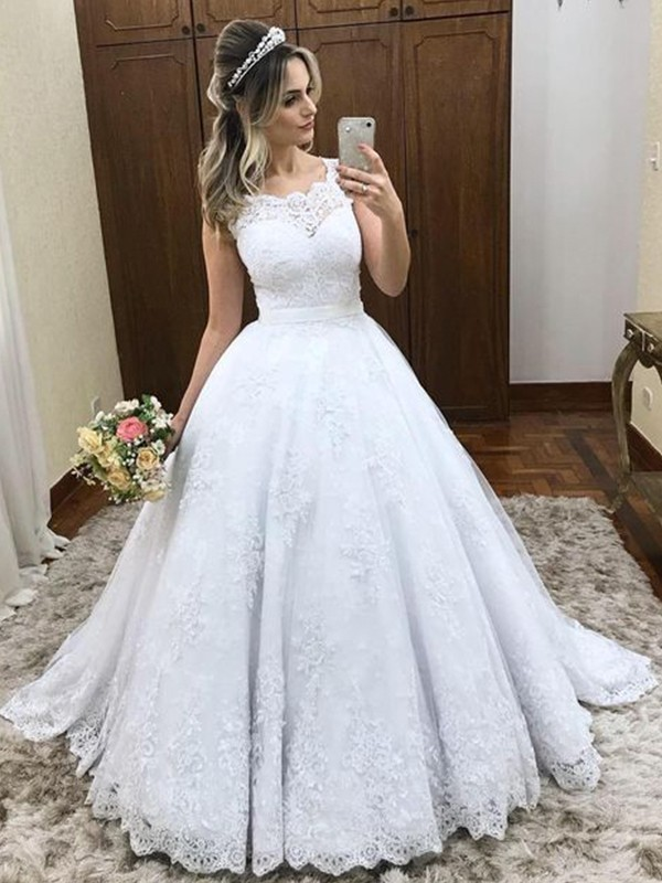 Ball Gown Scoop Long Satin Wedding Dress