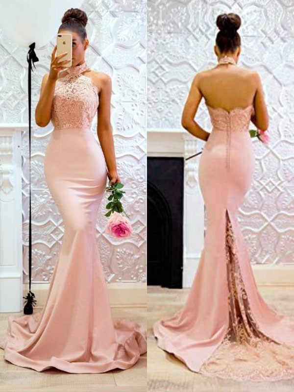 Mermaid Halter Long Satin Dress