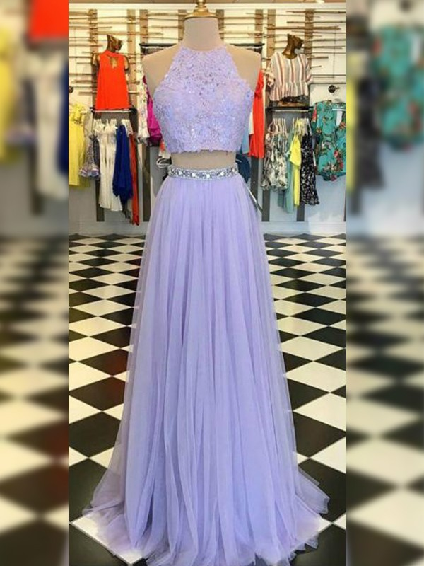 A-Line/Princess Tulle Halter Long Two Piece Dress