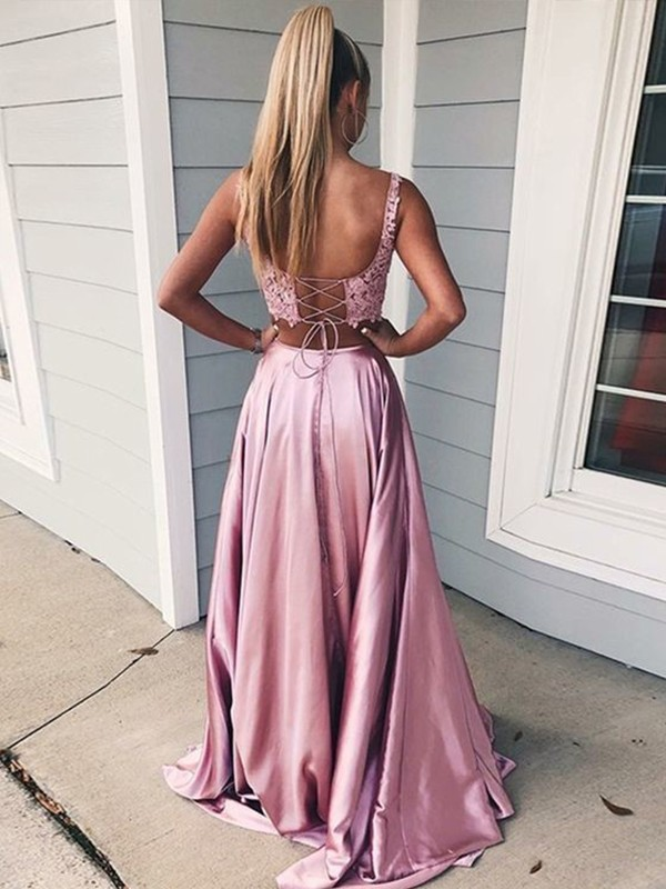 A-Line/Princess Square Long Silk like Satin Two Piece Dress