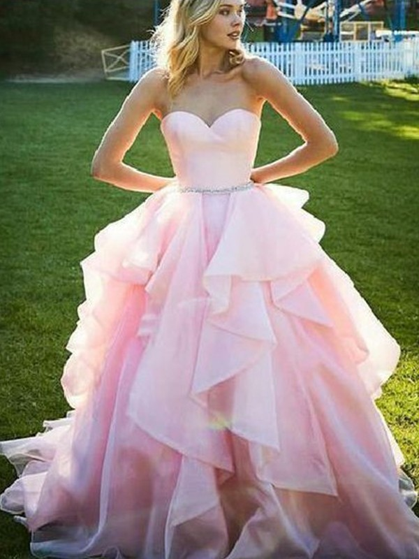 Ball Gown Sweetheart Long Organza Dress