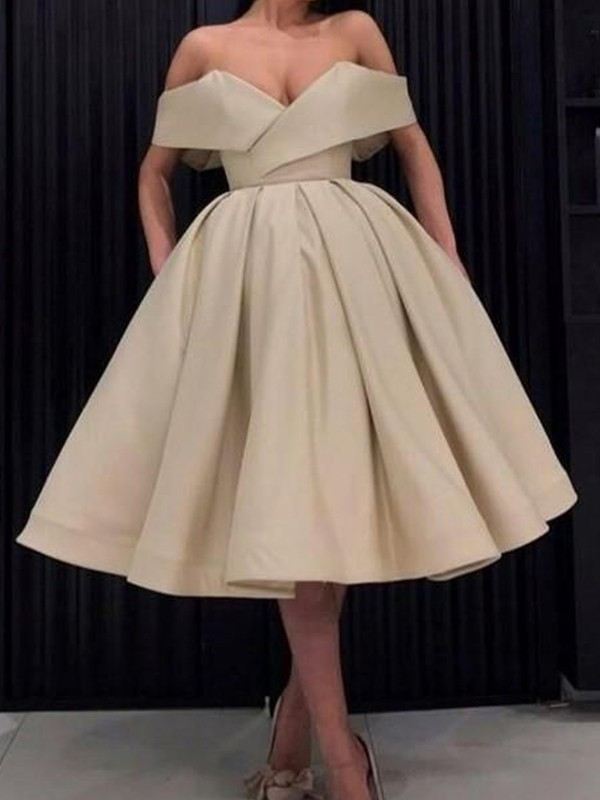 Ball Gown Satin Off-the-Shoulder Knee-Length Dress