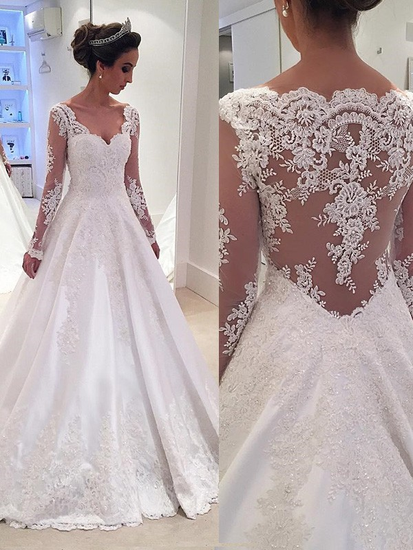 Ball Gown V-neck Long Sleeves Lace Long Satin Wedding Dress