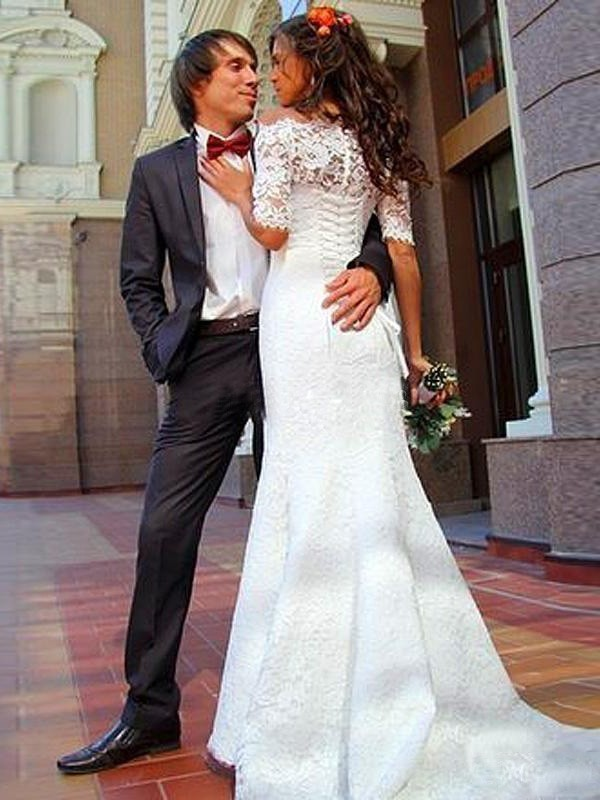 Mermaid Off-the-Shoulder 1/2 Sleeves Lace Long Wedding Dress