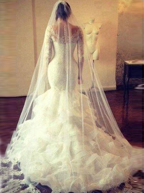 Mermaid Scoop Long Sleeves Lace Long Tulle Wedding Dress