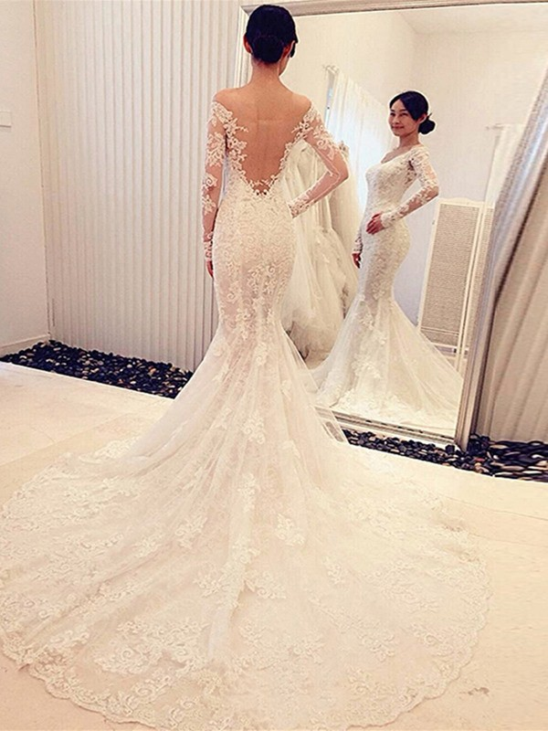 Mermaid Off-the-Shoulder Long Sleeves Lace Long Wedding Dress