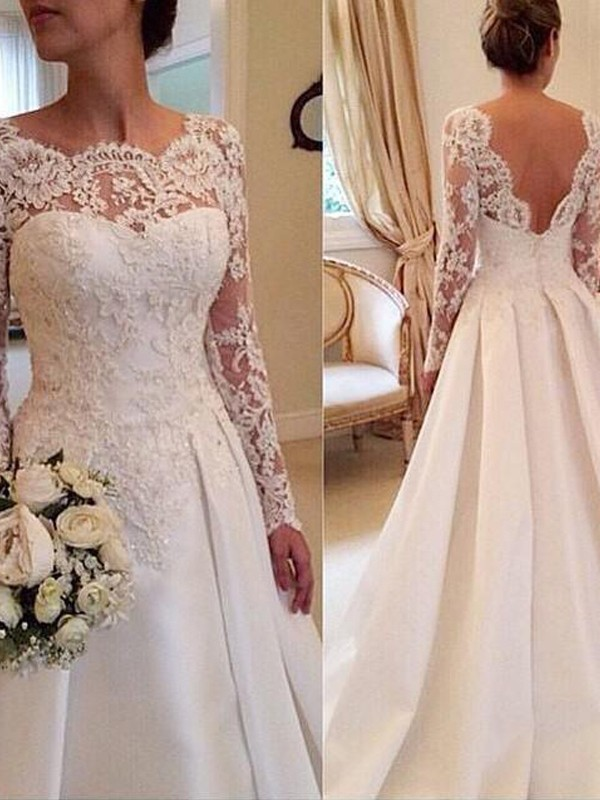 Ball Gown Scoop Long Sleeves Lace Long Satin Wedding Dress