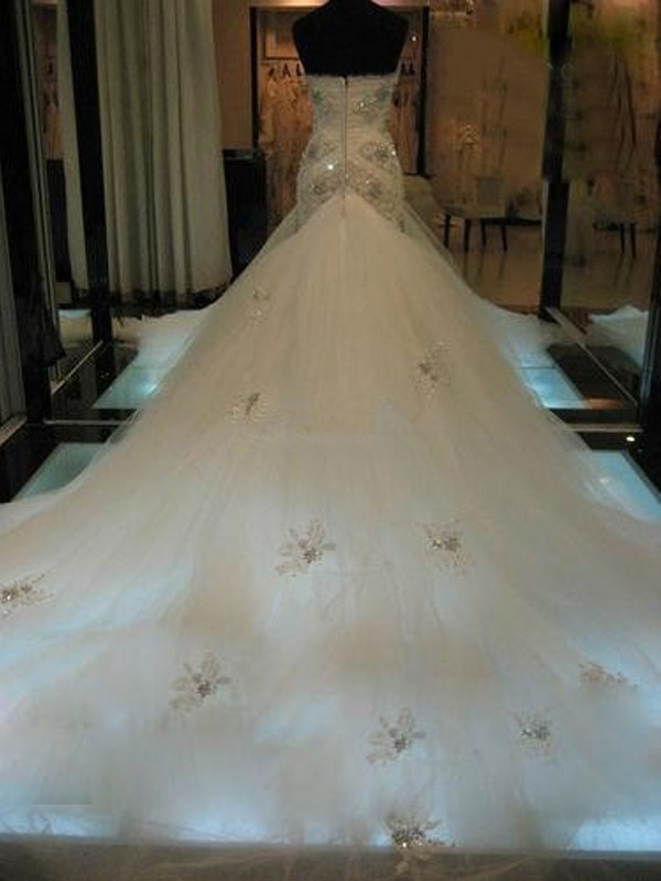Mermaid Sweetheart Long Tulle Wedding Dress