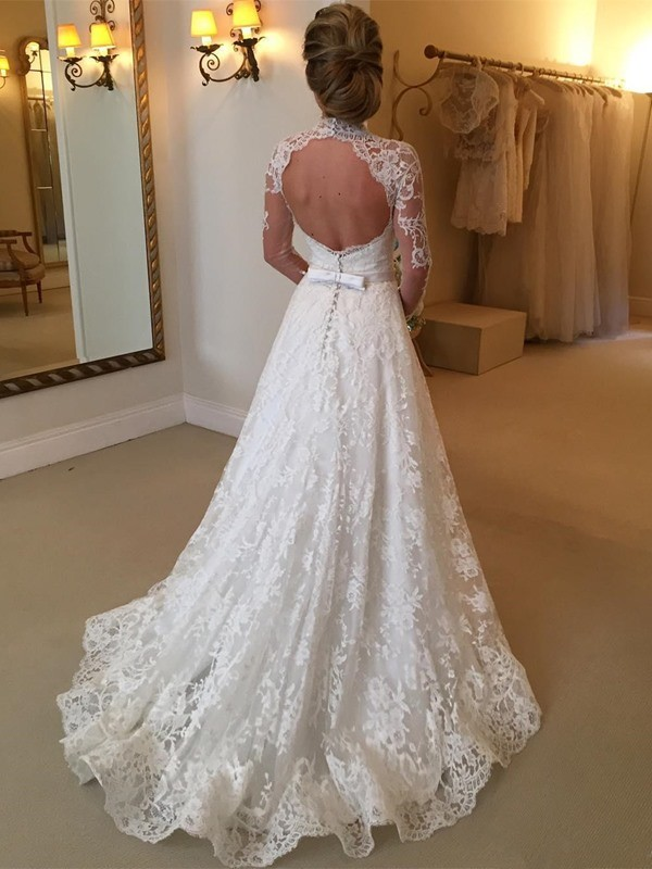 Ball Gown High Neck Long Sleeves Lace Long Wedding Dress