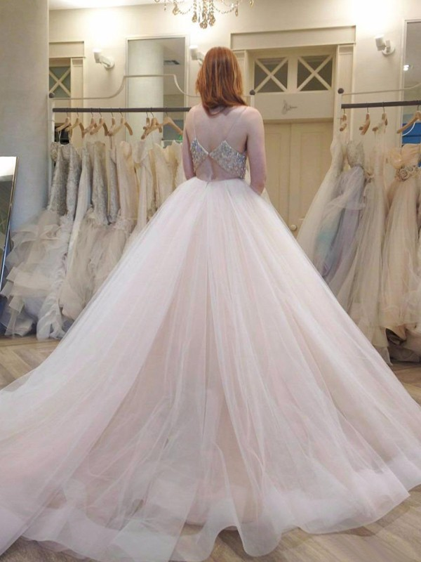 Ball Gown Spaghetti Straps Long Tulle Wedding Dress