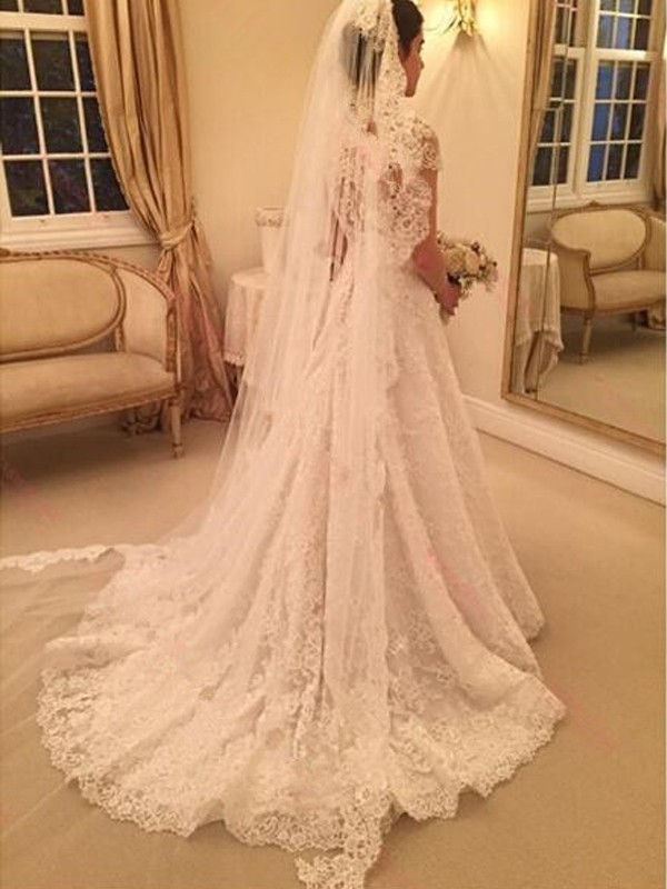 A-Line/Princess Sweetheart Long Short Sleeves Lace Wedding Dress