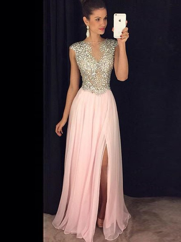 A-Line/Princess Bateau Chiffon Sequins Long Dress