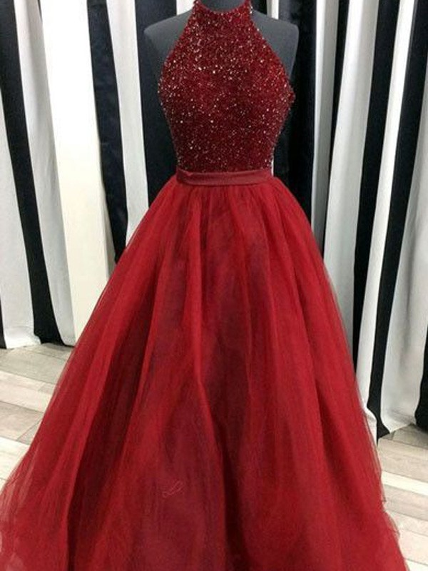 Ball Gown High Neck Long Organza Dress