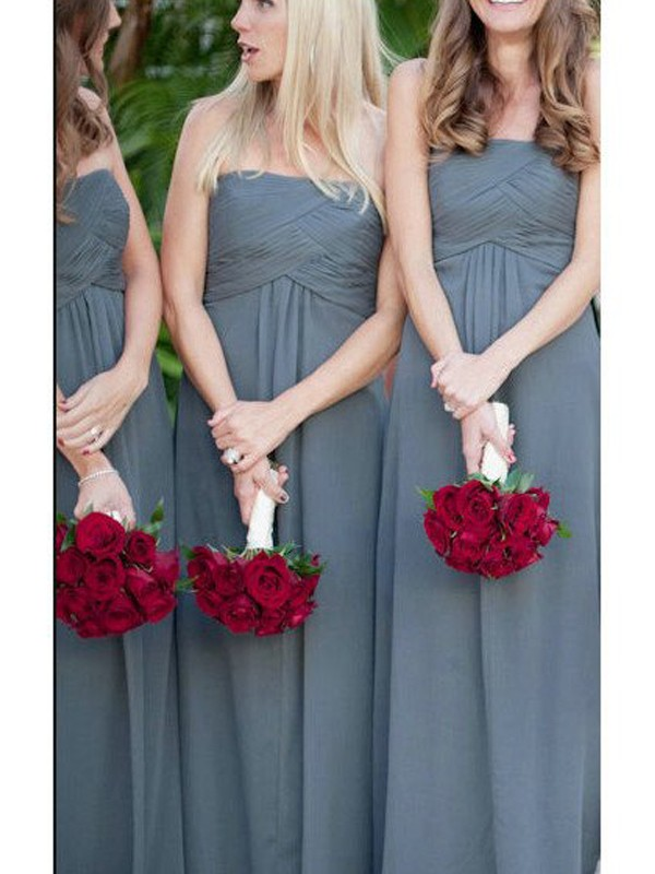 A-Line/Princess Strapless Long Chiffon Bridesmaid Dress