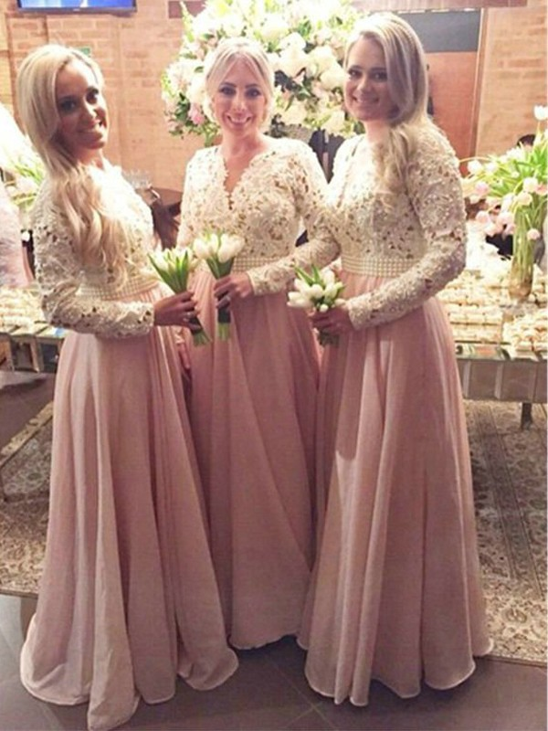 A-Line/Princess Long Sleeves V-neck Long Chiffon Bridesmaid Dress