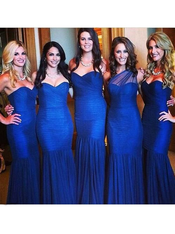 Mermaid Sweetheart Long Tulle Bridesmaid Dress