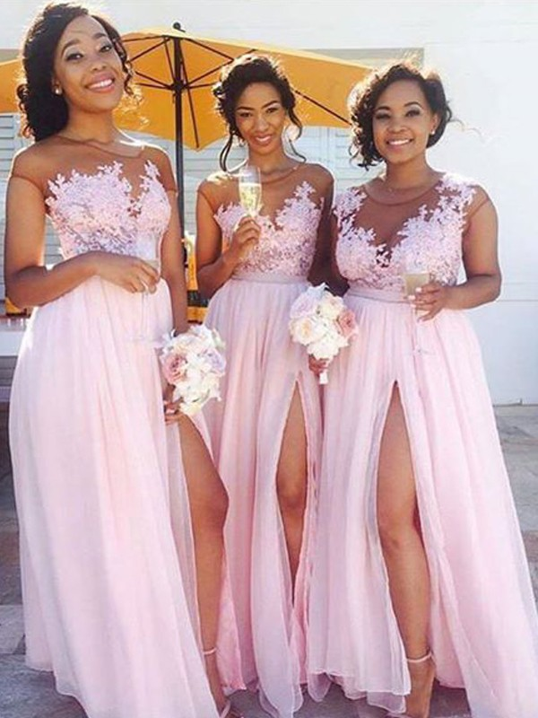 A-Line/Princess Scoop Long Chiffon Bridesmaid Dress