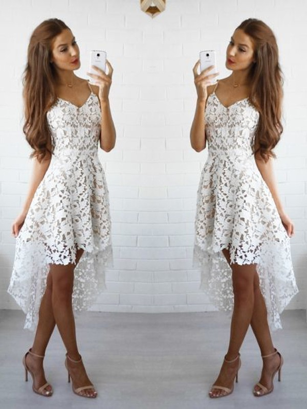 A-Line/Princess Spaghetti Straps Lace Short Dress