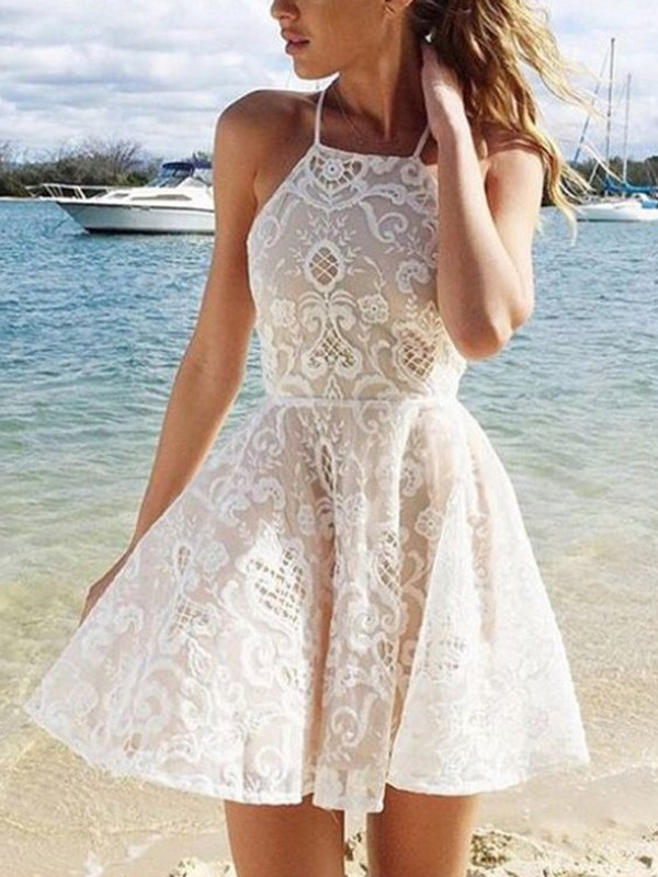 A-Line/Princess Halter Lace Spandax Short Dress