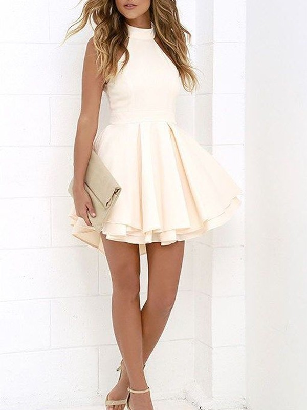 A-Line/Princess Halter Satin Short Dress