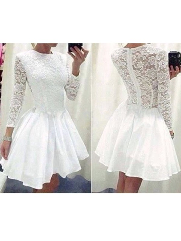 A-Line/Princess Long Sleeves Scoop Chiffon Short Dress