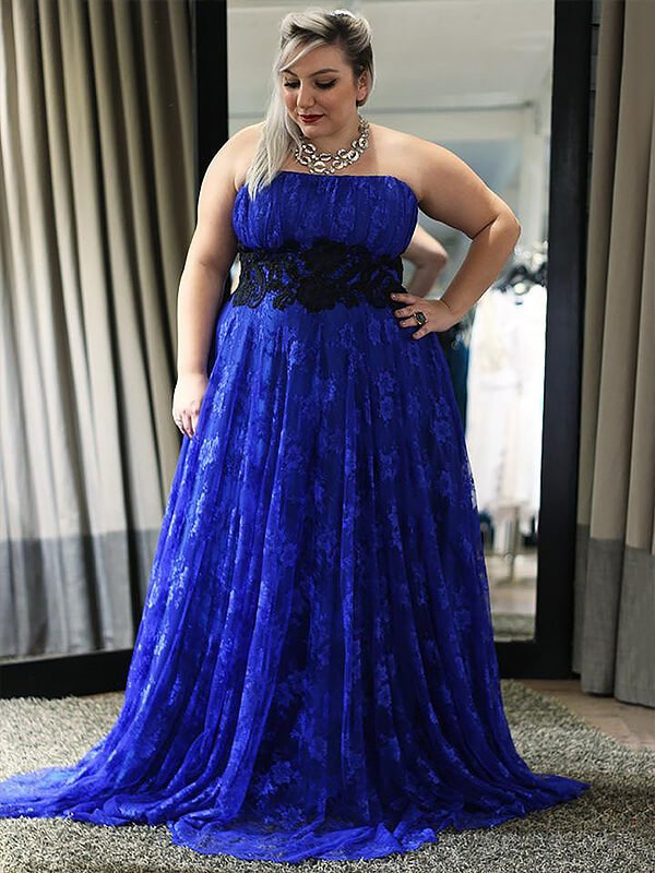 A-Line/Princess Strapless Lace Long Plus Size Dress