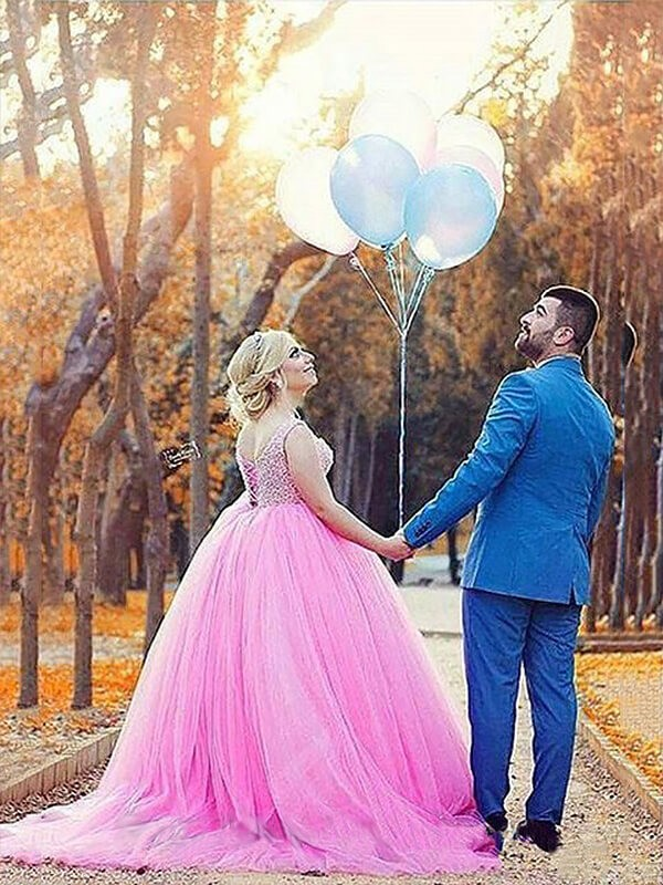 Ball Gown Sweetheart Tulle Long Plus Size Dress