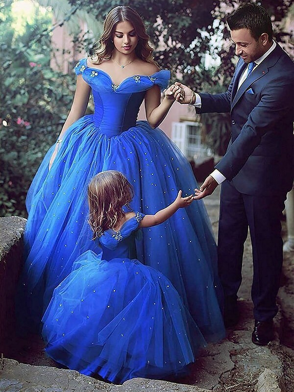 Ball Gown Off-the-Shoulder Long Tulle Flower Girl Dress