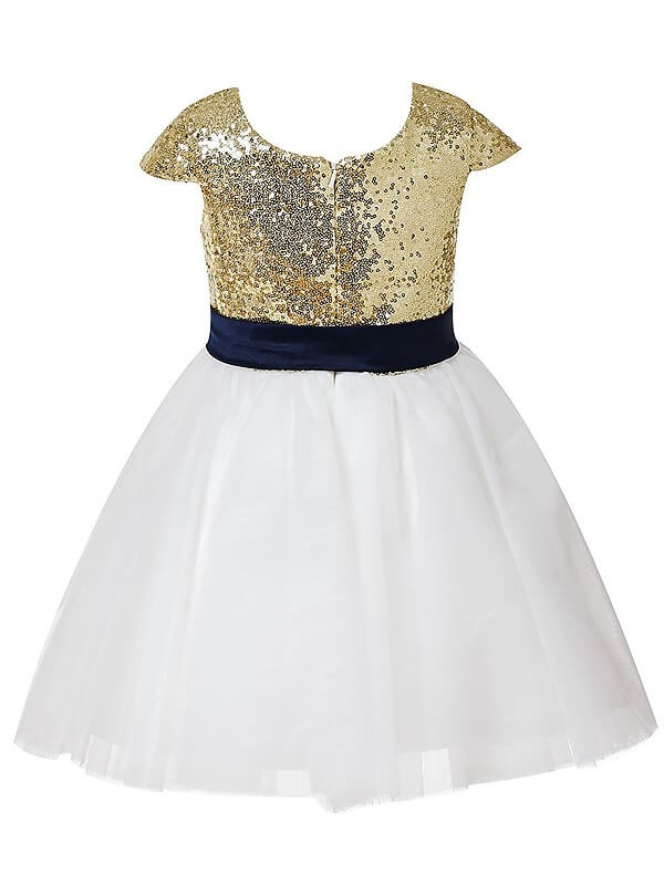 A-Line/Princess Short Sleeves Jewel Tulle Tea-length Flower Girl Dress