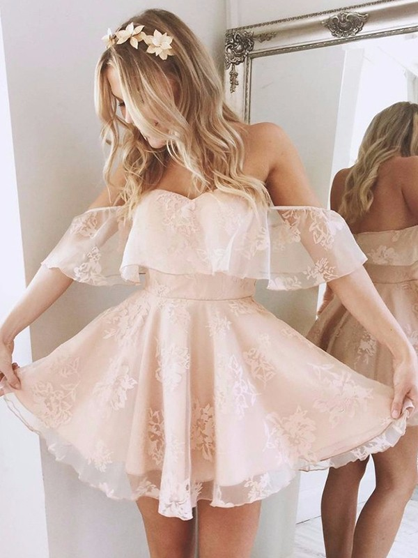A-Line/Princess Off-the-Shoulder Short Lace Dress