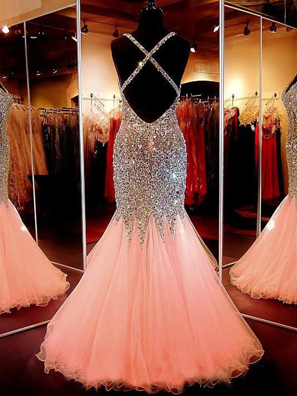 Mermaid V-neck Tulle Sequins Long Dress