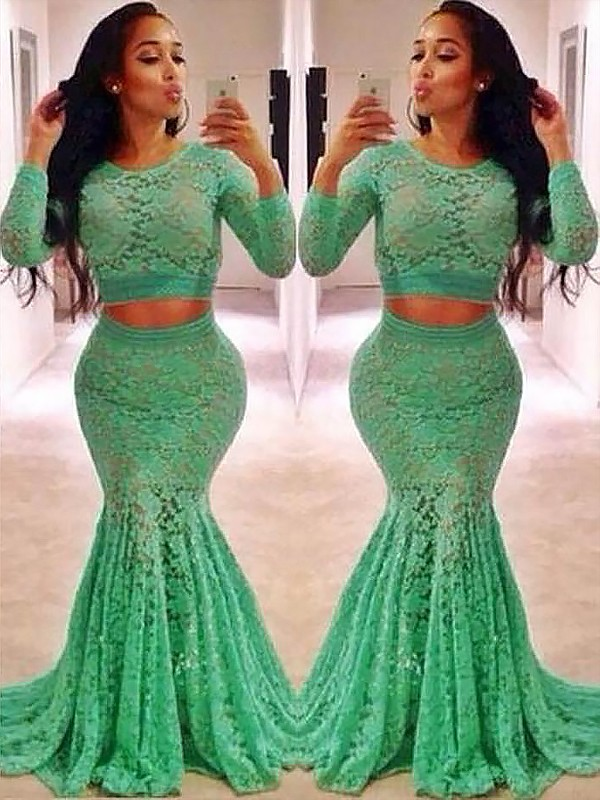Mermaid Scoop Long Sleeves Lace Long Two Piece Dress