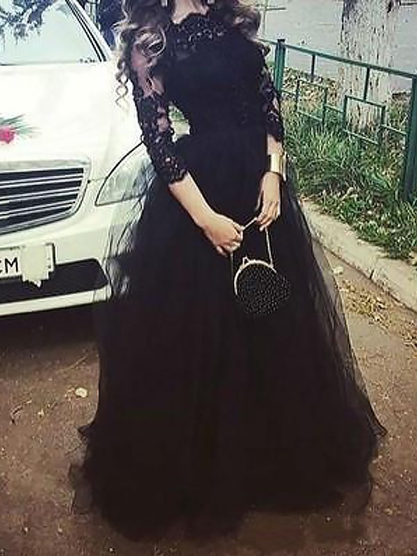 Ball Gown 3/4 Sleeves Bateau Lace Long Tulle Dress