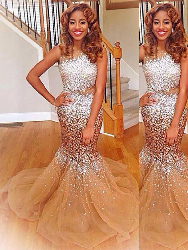 Mermaid Bateau Sequins Long Tulle Dress