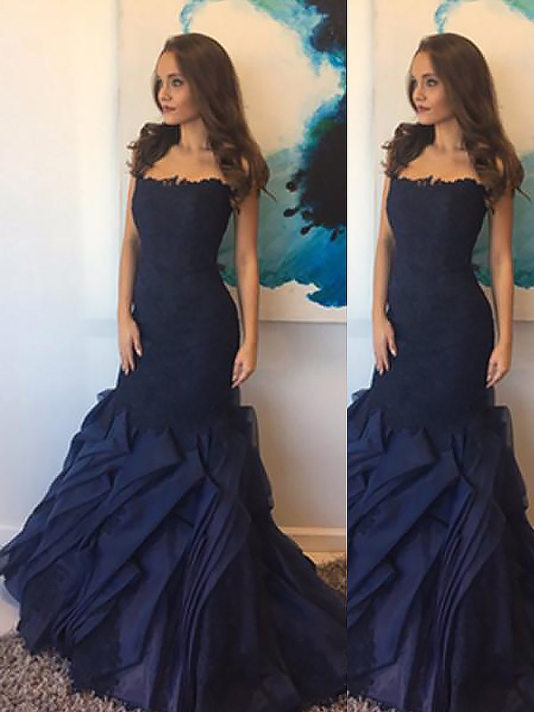 Mermaid Strapless Taffeta Lace Long Dress