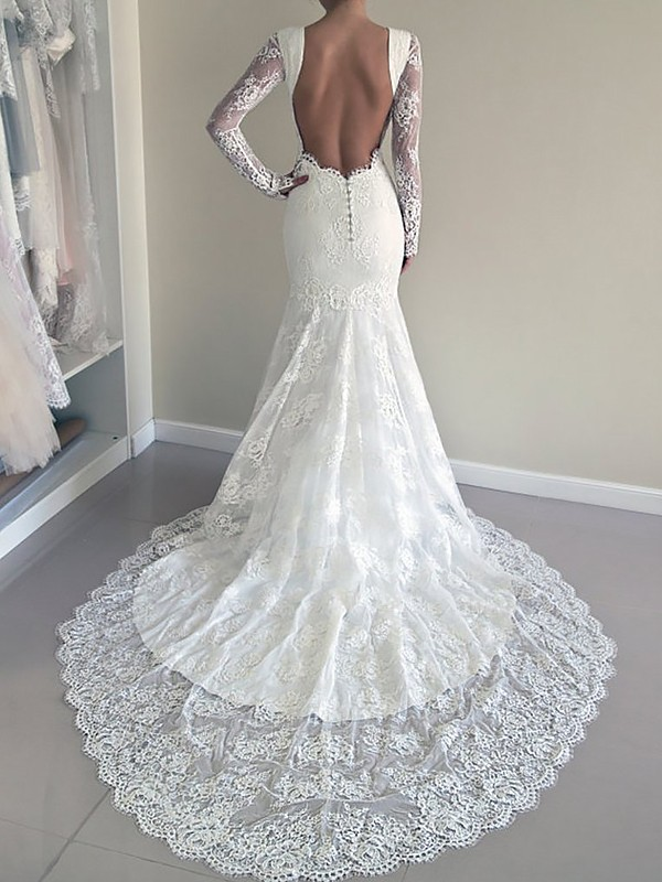 Mermaid Scoop Long Sleeves Long Lace Wedding Dress