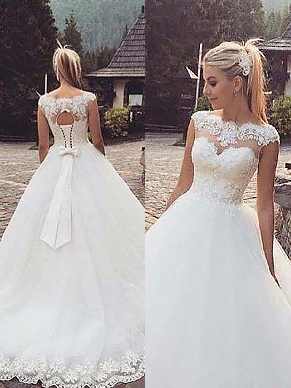 Ball Gown Bateau Tulle Long Wedding Dress