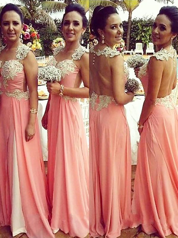 A-Line/Princess Straps Chiffon Long Bridesmaid Dress