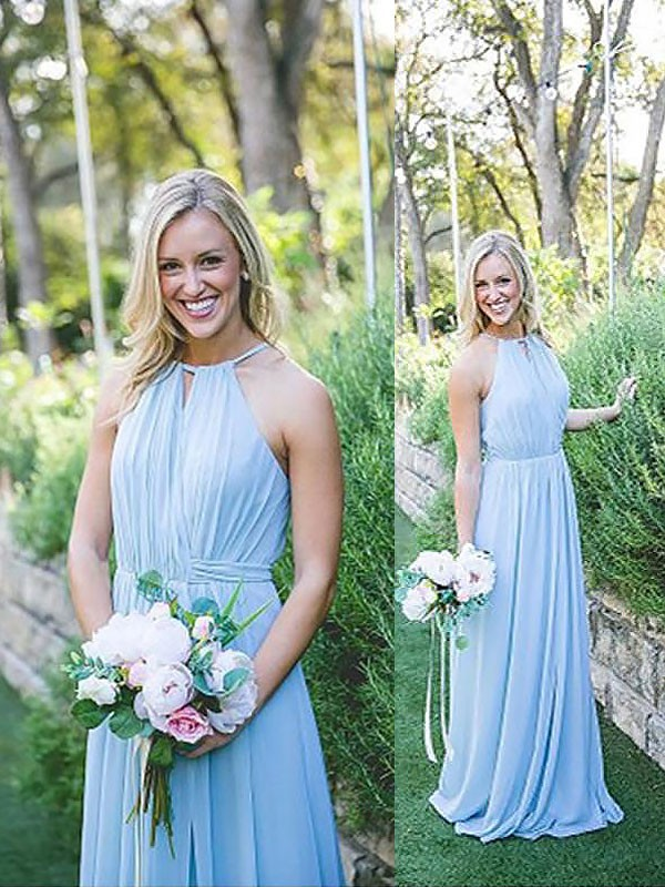 A-Line/Princess Halter Chiffon Long Bridesmaid Dress