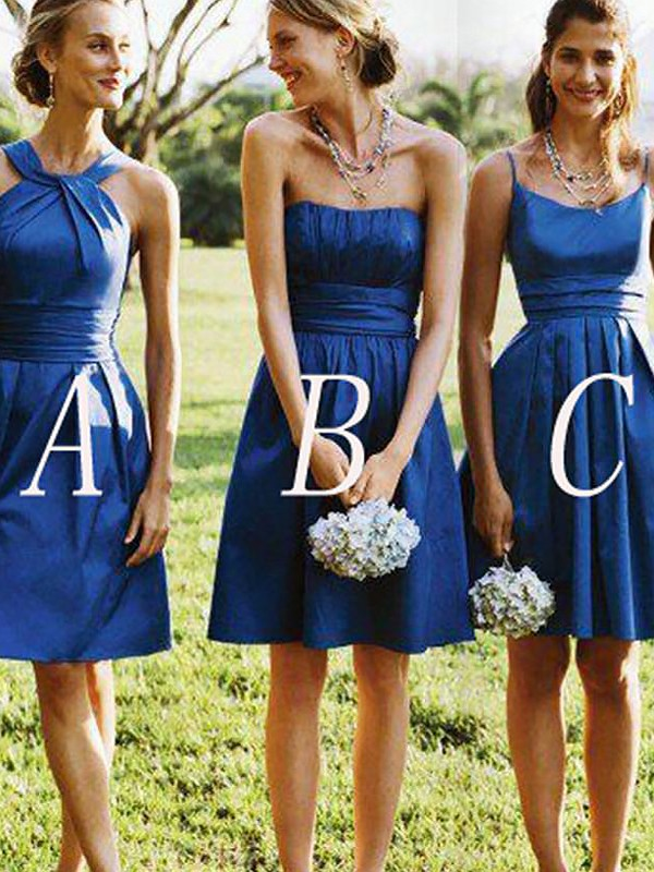 A-Line/Princess Satin Short Bridesmaid Dress