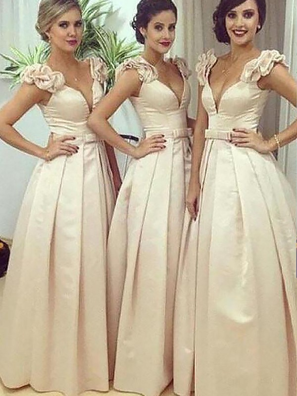 A-Line/Princess Long Satin Straps Bridesmaid Dress