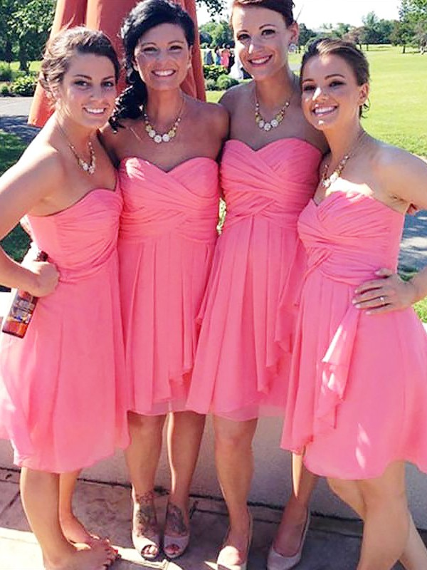A-Line/Princess Short Sweetheart Chiffon Bridesmaid Dress