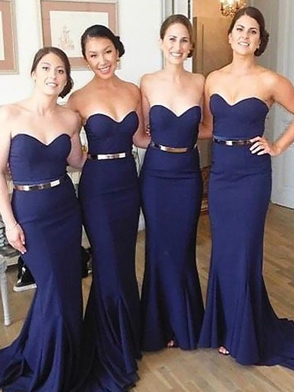 Mermaid Sweetheart Long Satin Bridesmaid Dress