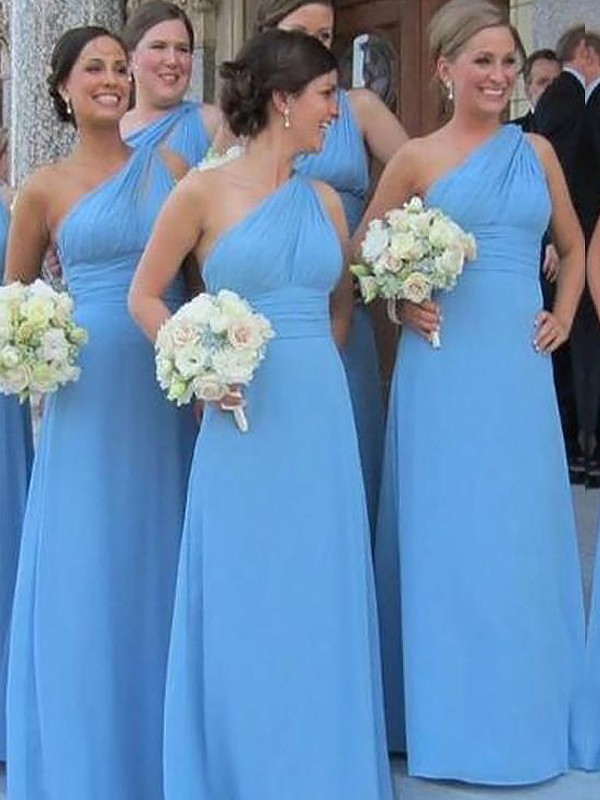 Sheath/Column One-Shoulder Chiffon Long Bridesmaid Dress