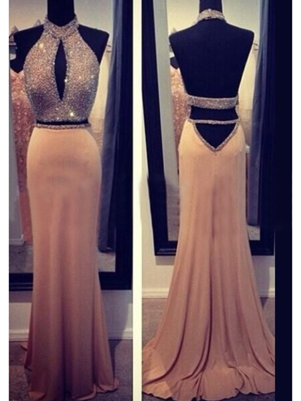 Sheath/Column Halter Chiffon Long Dress