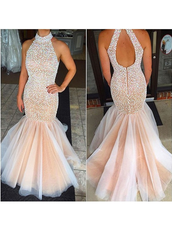 Mermaid Halter Tulle Long Dress