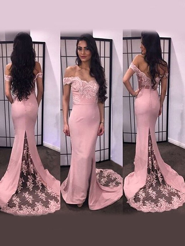 Mermaid Off-the-Shoulder Satin Long Dress