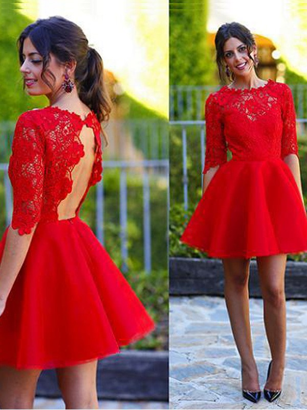 A-Line/Princess Scoop 1/2 Sleeves Lace Short Dress
