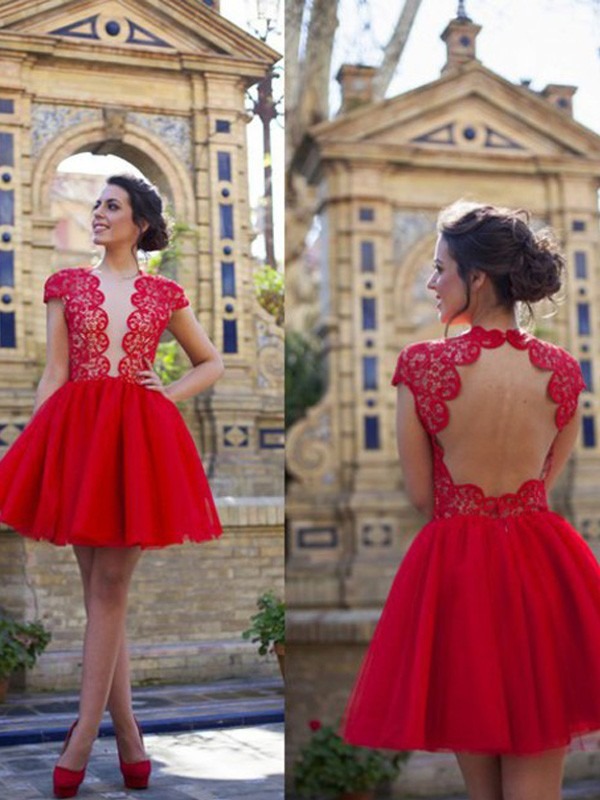 A-Line/Princess Short Sleeves Scoop Lace Short Tulle Dress